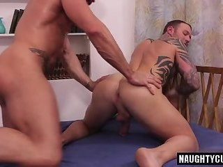 Anal,Hunks,Tattoo,gay,ass,hardcore,fuck,muscled Latin gay flip...