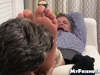 Bondage,Feet,Mature,hunk,foot fetish,socks,tickling, toes, soles,MyFriendsToes,Bare Feet,torment,gay Old guy got tied...
