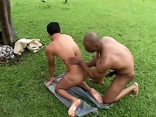Big Cocks (Gay);Interracial (Gay);Muscle (Gay);Outdoor (Gay) Black slave fucks...