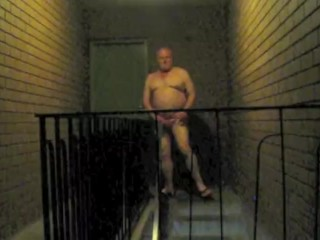 outside;public;exhibitionism,Solo Male;Gay;Bear;Public;Amateur;Chubby Naked in stairs...