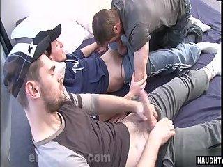 Big Cock,Threesome,Blowjob,gay,cum eating Big cock gay oral...