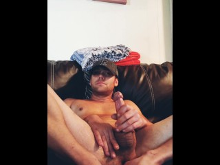 jerking-off;cumming-on-myself;hairy;hat;cute-guy-jerking-off,Solo Male;Gay Cumming on the couch