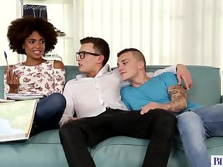 Anal,Bisexual,Interracial,Threesome,Blowjob,condom,brunette,natural tits,gay Interracial...