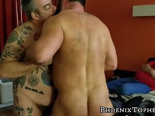 Anal,Cumshot,Bears,Rimming,Tattoo,Threesome,Bareback,bear,hardcore,hairy,jockstrap, anal play,bearded,PhoenixTopher,gay Big tattooed bear...