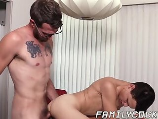 Cumshot,Blowjob,Bareback,gay,twink,hardcore,big dick,taboo,daddy,forbidden,glasses,stepdad,step dad,stepson,step son,FamilyCock Stepsons bends...