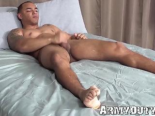 Amateur,Masturbation,Solo,Big Cock,Tattoo,Uniform,gay,hunk,big dick,reality,black,military,army,soldier,ArmyDuty,troop Handsome black...