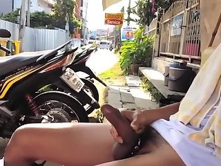 Amateur,Masturbation,Solo,Outdoors,public,gay Beating my meat...